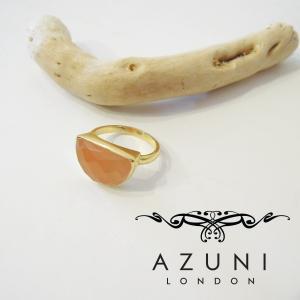 AZUNI LONDON/アズニロンドン ピーチムーンストーンリング 指輪 12号 レディース 通販 アズニ 海外 ブランド ピンク 18k ゴールドハーフムーン|classica