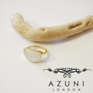 AZUNI LONDON/アズニロンドン ムーンストーンリング 指輪 10号 レディース 通販 アズニ 海外 ブランド  乳白色 18k ゴールドハーフムーン|classica