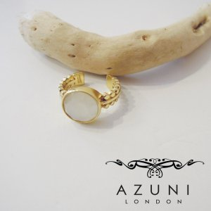 AZUNI LONDON/アズニロンドン ムーンストーンリング 指輪 レディース 9号 フリーサイズ azuni アズニ 通販 18k ゴールド テーブルカット|classica