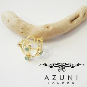 AZUNI LONDON アズニ アクアカルセドニー付きワイドリング 指輪 レディース 女性用 13号 フリーサイズ ゴールド 18k 通販 キャサリン妃|classica