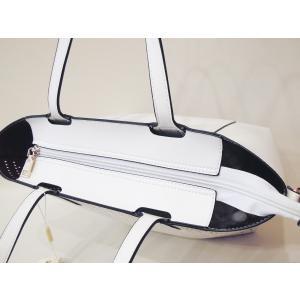 フランス パンチレザー3WAYトートバッグ レディース 白 ホワイト ショルダーバッグ かばん 春 夏 秋 おしゃれ 合皮 通販 インナーバッグ|classica|05