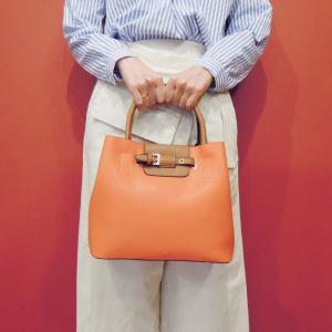 フランス ベルトデザイン2WAYハンドバッグ レディース かばん 鞄 オレンジ 通販 ショルダーバッグ 海外 ブランド おしゃれ 派手 上品 classica