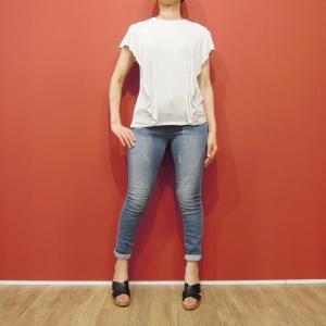 セール/ALCOTTフリルデザイン半袖Tシャツ レディース カットソー ニット ストレッチ フリル袖 9号 通販 海外ブランド 白 オフホワイト アルコット カジュアル|classica