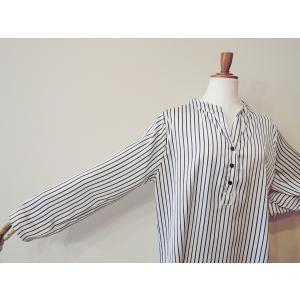 イタリア製 ストライプ柄サテン地プルオーバービッグシャツ レディース ホワイト 白 オーバーシャツ 9号 11号 ゆったり リラックス 通販 classica 06