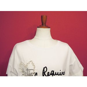 イタリア クルーネックパール付き半袖ロゴTシャツ レディース 白 白TEE 派手 ホワイト 9号 ゆったり デザイン 通販 おしゃれ カジュアル|classica|05