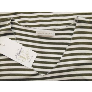イタリア製 Vネックドルマンスリーブボーダーカットソー レディース Tシャツ 11号 カーキ ゆったり 半袖 夏 コクーン ストレッチ おしゃれ|classica|08
