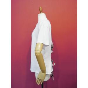 イタリア製 バックレースアップ半袖ロゴTシャツ レディース 白Tシャツ ホワイト 白 カットソー リボン おしゃれ 30代 40代 カジュアル|classica|03