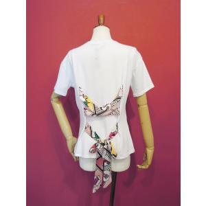 イタリア製 バックレースアップ半袖ロゴTシャツ レディース 白Tシャツ ホワイト 白 カットソー リボン おしゃれ 30代 40代 カジュアル|classica|04