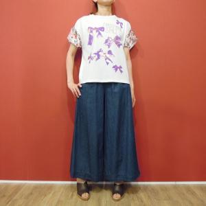 イタリア製 ラインストーン付き花柄Tシャツ レディース カットソー フラワー 白 半袖 9号 11号 フレア袖 おしゃれ 通販 大人|classica
