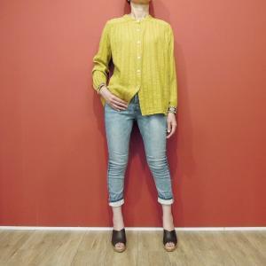 イタリア製 刺繍入りバンドカラーコットンシャツ レディース 黄色 イエロー ノーカラー 9号 M 春 夏 秋 通販 おしゃれ 長袖|classica