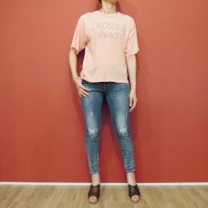 メキシコ製 M//C メッセージTシャツ レディース 半袖 カットソー 通販 丸首 ロックT ロゴT 女性 サーモンピンク  大人 ピンク|classica
