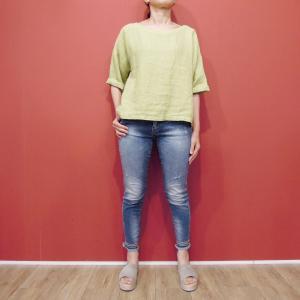 イタリア製 リネン7分袖プルオーバートップス レディース グリーン 緑 11号 L 麻 カットソー 通販 おしゃれ 無地 ブラウス ゆったり|classica