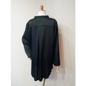 イタリア製 キーネックサテンシャツチュニック レディース ブラック 黒 11号 L 無地 おしゃれ 通販 てろしゃつ ゆったり きれいめ classica 04