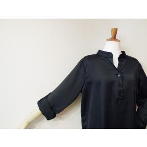 イタリア製 キーネックサテンシャツチュニック レディース ブラック 黒 11号 L 無地 おしゃれ 通販 てろしゃつ ゆったり きれいめ classica 06
