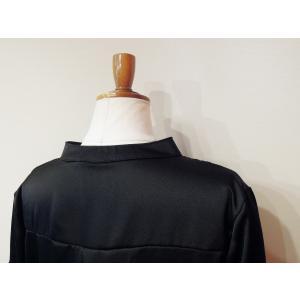イタリア製 キーネックサテンシャツチュニック レディース ブラック 黒 11号 L 無地 おしゃれ 通販 てろしゃつ ゆったり きれいめ classica 07