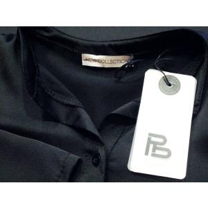 イタリア製 キーネックサテンシャツチュニック レディース ブラック 黒 11号 L 無地 おしゃれ 通販 てろしゃつ ゆったり きれいめ classica 08