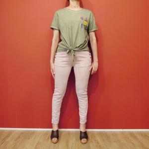 イタリア製 バッジ付き半袖Tシャツ レディース カーキ 緑 カットソー 9号 M ショート丈 通販 おしゃれ カジュアル コットン 綿|classica