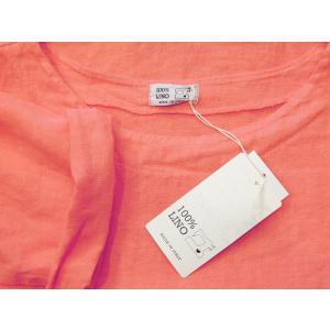 イタリア製 リネン7分袖プルオーバートップス レディース ピンク カットソー 11号 L 麻 通販 おしゃれ 派手 ムジ 明るい ブラウス|classica|08