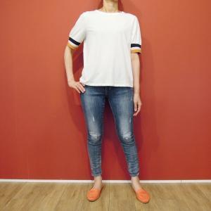 アメリカ ラインスリーブTシャツ 半袖 カットソー ホワイト 白 レディース 9号 M 丸首 カジュアル 女性 通販 おしゃれ 白T|classica
