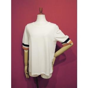 アメリカ ラインスリーブTシャツ 半袖 カットソー ホワイト 白 レディース 9号 M 丸首 カジュアル 女性 通販 おしゃれ 白T classica 02