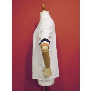 アメリカ ラインスリーブTシャツ 半袖 カットソー ホワイト 白 レディース 9号 M 丸首 カジュアル 女性 通販 おしゃれ 白T classica 03