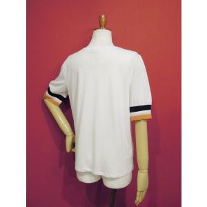 アメリカ ラインスリーブTシャツ 半袖 カットソー ホワイト 白 レディース 9号 M 丸首 カジュアル 女性 通販 おしゃれ 白T classica 04