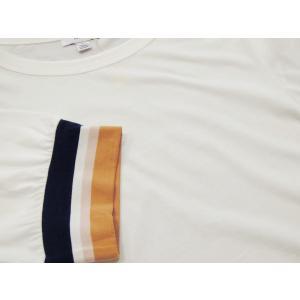 アメリカ ラインスリーブTシャツ 半袖 カットソー ホワイト 白 レディース 9号 M 丸首 カジュアル 女性 通販 おしゃれ 白T classica 07