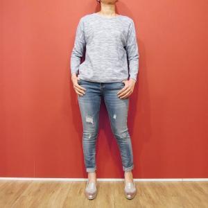 セール/イタリア製 霜降り柄ロングテールニット レディース 薄手 ブルー 青 ゆったり ミックス 9号 おしゃれ 丸首 シンプル 婦人|classica