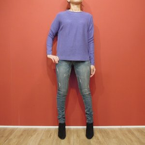 イタリア製 長袖カラーニット レディース セーター 紫 パープル 9号 11号 無地 派手 ビビット 原色 通販 おしゃれ 差し色 女性用 大人 classica