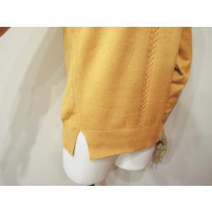 イタリア クルーネックデザインニット レディース セーター 長袖 黄色 イエロー 丸首 海外 ブランド 通販 シンプル きれいめ 婦人 classica 08