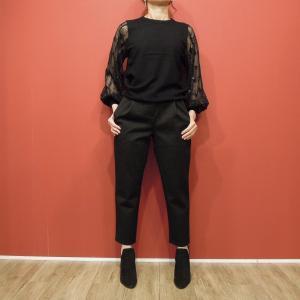 イタリア レーススリーブ長袖ニット レディース  黒 ブラック シースルー袖 薄手 きれいめ 通販 おしゃれ 9号 M レース袖 フォーマル|classica