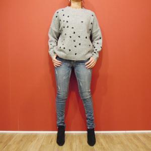 フランス ハート刺繍ニットセーター レディース グレー 灰色 ゆったり 9号 11号 通販 おしゃれ 女性用 海外 ブランド ウール シンプル classica