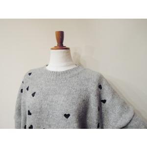 フランス ハート刺繍ニットセーター レディース グレー 灰色 ゆったり 9号 11号 通販 おしゃれ 女性用 海外 ブランド ウール シンプル classica 05