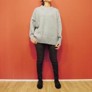 イタリア オーバーサイズミックスニット レディース セーター 長袖 11号 L 水色 ブルー ざっくり 通販 おしゃれ シンプル ゆったり 婦人 classica