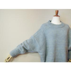 イタリア オーバーサイズミックスニット レディース セーター 長袖 11号 L 水色 ブルー ざっくり 通販 おしゃれ シンプル ゆったり 婦人 classica 06