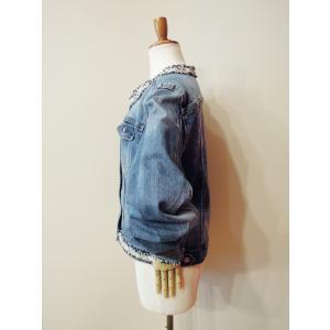 イタリア パール付きノーカラーデニムジャケット レディース Gジャン 11号 ブルー ジ―ジャン アウター 装飾 おしゃれ 通販 新作 classica 04
