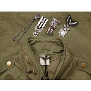 イタリア M65タイプミリタリージャケット レディース ミリタリー カーキ 9号 11号 リメイク 軍物 おしゃれ 通販 コットン ピンバッチ|classica|08
