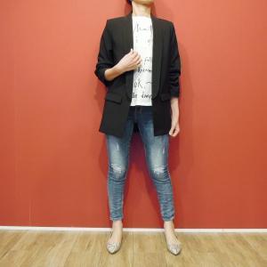 イタリア製 テーラードジャケット レディース ブラック 黒 11号 L ロング丈 八分袖 ギャザースリーブ ゆったり 通販 おしゃれ アウター|classica