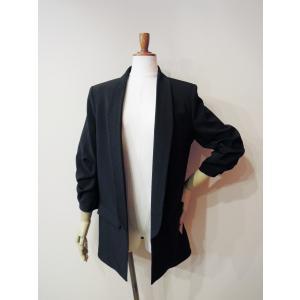 イタリア製 テーラードジャケット レディース ブラック 黒 11号 L ロング丈 八分袖 ギャザースリーブ ゆったり 通販 おしゃれ アウター|classica|02