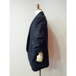 イタリア製 テーラードジャケット レディース ブラック 黒 11号 L ロング丈 八分袖 ギャザースリーブ ゆったり 通販 おしゃれ アウター|classica|03