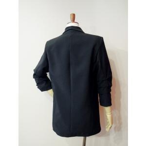 イタリア製 テーラードジャケット レディース ブラック 黒 11号 L ロング丈 八分袖 ギャザースリーブ ゆったり 通販 おしゃれ アウター|classica|04