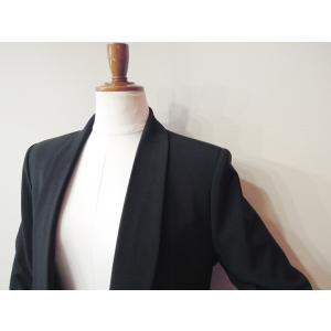 イタリア製 テーラードジャケット レディース ブラック 黒 11号 L ロング丈 八分袖 ギャザースリーブ ゆったり 通販 おしゃれ アウター|classica|05