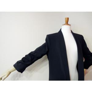 イタリア製 テーラードジャケット レディース ブラック 黒 11号 L ロング丈 八分袖 ギャザースリーブ ゆったり 通販 おしゃれ アウター|classica|06