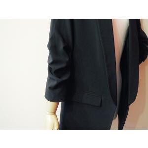 イタリア製 テーラードジャケット レディース ブラック 黒 11号 L ロング丈 八分袖 ギャザースリーブ ゆったり 通販 おしゃれ アウター|classica|07
