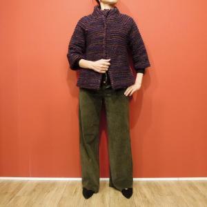イタリア製 ボーダーウールスタンドカラーショート丈コート レディース 七分袖 パープル 紫 9号 11号 アウター 通販 おしゃれ 婦人 classica