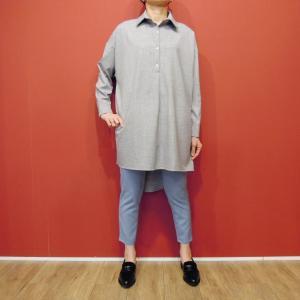 イタリア製 プルオーバーシャツチュニック レディース ビッグシャツ グレー 灰色 11号 9号 ゆったり 通販 おしゃれ 無地 海外 ブランド|classica