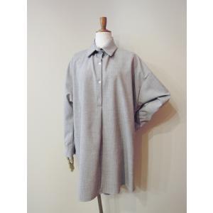 イタリア製 プルオーバーシャツチュニック レディース ビッグシャツ グレー 灰色 11号 9号 ゆったり 通販 おしゃれ 無地 海外 ブランド|classica|02