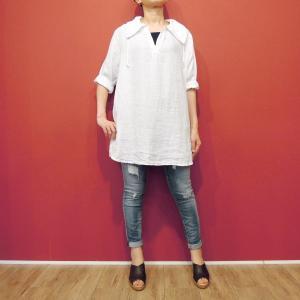 イタリア製 6分袖リネンキーネックチュニック レディース ホワイト 白 夏 春夏 ゆったり 半袖 無地 麻 ナチュラル リンネル 通販 11号 大人 女性|classica