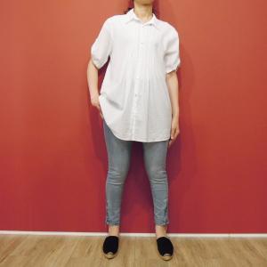 イタリア製 ストライプ柄半袖シャツチュニック 白シャツ レディース 9号 M 春 夏 シンプル おしゃれ コットン 通販 カジュアル 大人|classica