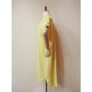 イタリア製 コットン半袖ストライプシャツワンピース レディース ノーカラー 黄色 イエロー 9号 11号 通販 ロングシャツ 派手|classica|03